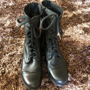 Steve Madden Troopa Black Leather Lace Up size 7.5